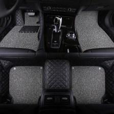BBA车品制造商 文丰方格斜纹皮革加丝圈双层全包专车专用五座脚垫JD14【黑灰色】【多色可选】