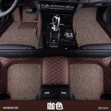 文丰 WF-JD12 水波纹皮革加丝圈双层全包专车专用五座脚垫【咖色】【多色可选】