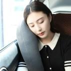 旷虎 便携 汽车护颈头枕 靠枕 抱枕 舒适 车用固定安全防护睡眠神器(靛青色)