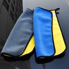 悦卡(YUECAR)洗车毛巾双层双色 加厚珊瑚绒擦车布 吸水毛巾30*40cm(2条装混色) YC-1049