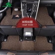 御马(yuma)工匠系列皮革包边 汽车丝圈脚垫 五座 专车专用汽车脚垫 经典米粽色