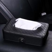 福和祥 车载纸巾盒车用纸巾盒 椅背挂式 汽车遮阳板 天窗挂式抽纸盒车用 超纤皮款 黑色