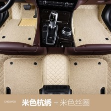 车丽友 专车专用全包围丝圈汽车脚垫 五座 【米色米线+米色丝圈】