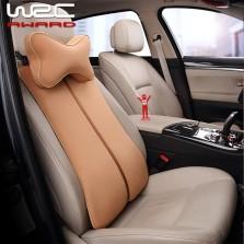 WRC 记忆棉气囊头枕腰枕 车载头枕汽车内饰套装 棕色