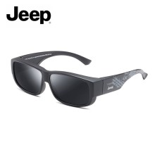 Jeep/吉普全框近视镜框套镜偏光太阳镜男女开车户外墨镜 哑黑框灰色片 JEEPR7003-M19