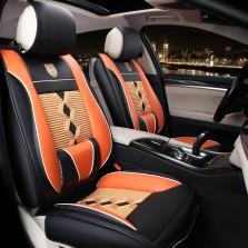 旷虎 汽车座垫四季通用3D皮革坐垫套【标准款 橙黑】
