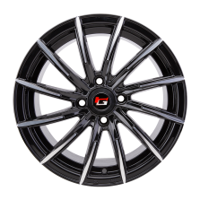 【热销款 买3送1 四只套装】丰途/华固HG2166 15寸 低压铸造轮毂 孔距4X100 ET35黑色车亮