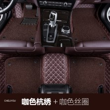 车丽友 专车专用全包围丝圈汽车脚垫 五座 【咖色米线+咖色丝圈】