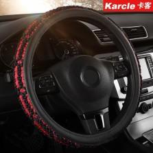 卡客 汽车方向盘套汽车把套四季通用耐磨吸汗 编织手感好