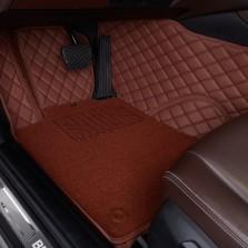 洛奇 专车专用全包围丝圈双层汽车脚垫【棕色五座】