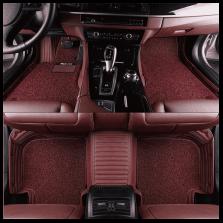 Mubo牧宝 横条纹皮革全包围丝圈双层七座专车专用汽车脚垫【双层酒红】