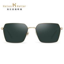 海伦凯勒偏光潮太阳镜男简约个性方框墨镜近视开车镜 H8755N21全色墨绿+AR绿+光水金