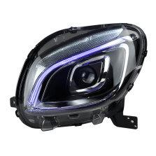 【免费安装】龙鼎奔驰Smart大灯总成 改装光导LED日行灯一抹蓝透镜全LED大灯
