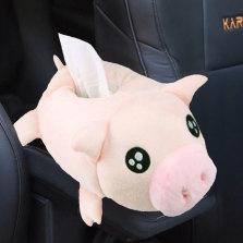 瑞 车载纸巾盒汽车多功能挂式创意卡通可爱座式抽纸盒装饰用品 小粉猪