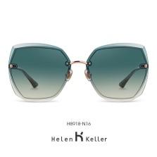 海伦凯勒墨镜女2020年新款太阳镜女圆脸高圆圆同款韩版潮大框眼镜偏光墨镜 H8918N16玫瑰金框+茶绿渐进