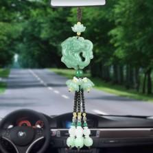 汽车挂件高档创意后视镜车内吊饰车载装饰品男士挂饰吊坠保平安符   招财貔貅-绿色