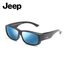 Jeep/吉普全框近视镜框套镜偏光太阳镜男女开车户外墨镜 哑黑框镀蓝色片 JEEPR7003-Y5