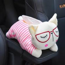 瑞 车载纸巾盒汽车多功能挂式创意卡通可爱座式抽纸盒装饰用品 条纹猫