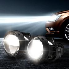 【免费安装】途虎定制 天蝎座 LED双光透镜套装+6000K白亮光+35W LED灯珠 汽车大灯改装升级套装 一对装