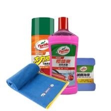 龟牌洗车4件套装【柏油清洗剂+洗车水蜡+洗车毛巾+镀膜海绵】