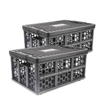 德国TAWA 车载折叠收纳箱 储物箱多功能整理置物盒 自驾野营【28L黑色*2个装】