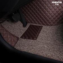 文丰方格斜纹皮革加丝圈双层全包专车专用五座脚垫JD14【咖色】