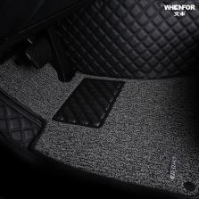 文丰 WF-JD14 方格斜纹 皮革加丝圈双层全包专车专用五座脚垫【黑灰色】【多色可选】