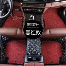 乔氏 金牛座系列 全包围皮革丝圈脚垫(可拆卸)【黑红款】