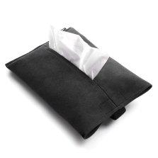 梵汐 意大利进口alcantara 翻毛皮多功能挂式纸巾盒【黑】