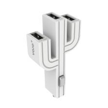 顽卓/VOJO正品仙人掌三USB车载充电器,内置LED,5V/(1A+2.1A+1A) 白色