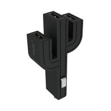 顽卓/VOJO正品仙人掌三USB车载充电器,内置LED,5V/(1A+2.1A+1A) 黑色