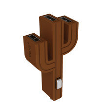 顽卓/VOJO正品仙人掌三USB车载充电器,内置LED,5V/(1A+2.1A+1A) 棕色