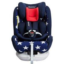 瑞贝乐/REEBABY儿童安全座椅汽车用 0-12岁360度旋转 全注塑isofix硬接口 s62【星点蓝】