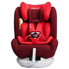 瑞贝乐/REEBABY儿童安全座椅汽车用 0-12岁360度旋转 全注塑isofix硬接口 s62【高贵红】